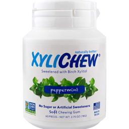 Xylichew 100% Xylitol Chewing Gum Jar - Non GMO, Gluten, Aspartame, and Sugar Free Gum - Natural Oral Care, Relieves Bad Breath and Dry Mouth - Peppermint (60 Count)