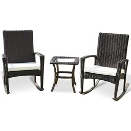 3 pcs Patio Rattan Rocking Chairs & Table Set