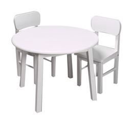 Gift Mark Childern's Natural Hardwood Round Table and Chair Set - White Finish