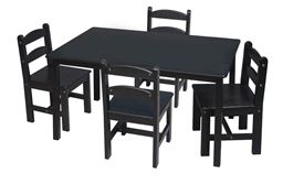 Gift Mark Childern's Rectangle Square Table with 4 Chairs  - Espresso