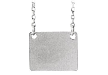 14K White Gold Engravable Square Pendant Necklace