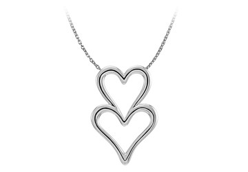 14K White Gold Double Heart Chain Slide Pendant For Her