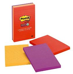 """Post-it 4645-3ssan Super Sticky Lined Notes 4""""x6"""""""