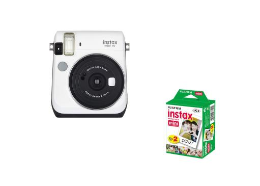 Fujifilm Instax Mini 70 Film Camera (White) + Fujifilm INSTAX Mini Instant Film 2 Pack (20 Sheets)