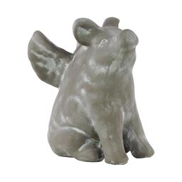 Urban Trends Cement Sitting Winged Pig Decorative Figurine in Washed Finish - Gray