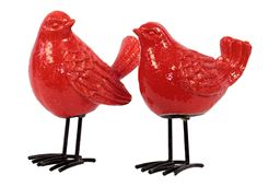 Urban Trends  Ceramic Bird Figurine with Long Metal Legs Assortment of Two Gloss Finish Red