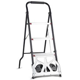 2-in-1 Convertible 3-Step Ladder Hand Truck with Two Wheels