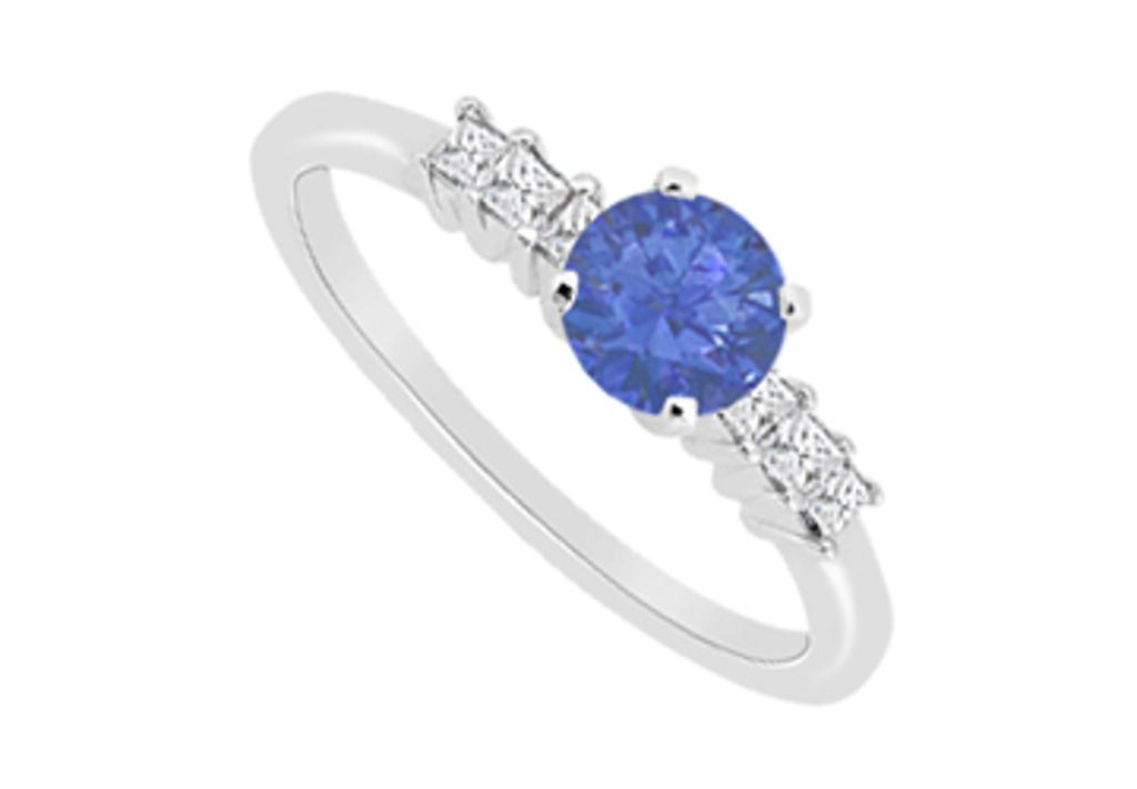 14K White Gold Diamond Princess Cut and Natural Sapphire in 14K White Gold with 0.60 Carat TGW