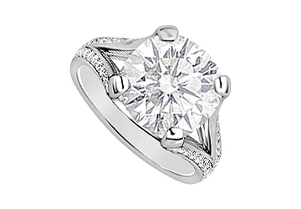 14K White Gold engagement Ring Cubic Zirconia