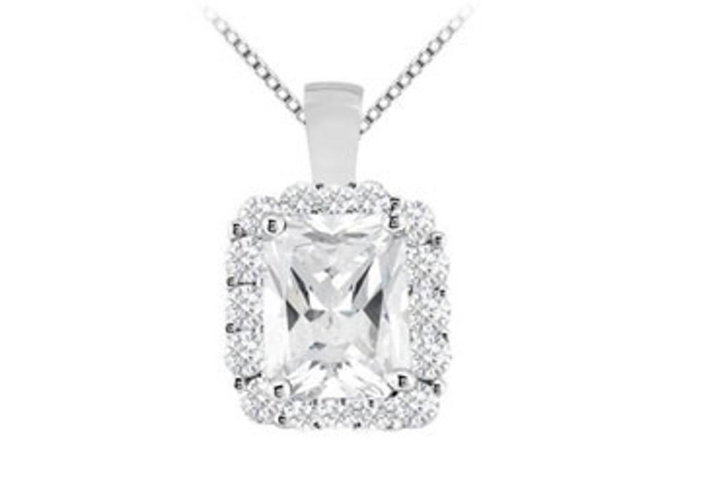 14K White Gold Emerald Cut and Round Cubic Zirconia Pendant with 7.60 Carat TGW