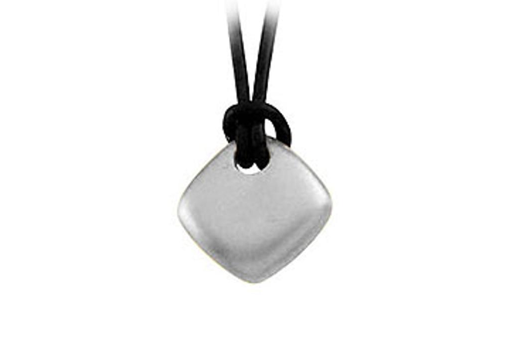 14K White Gold Diamond Shape Pendant