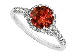 Garnet and CZ Specially Designed Engagement Ring in 14K White Gold Cool Design Great Price Range