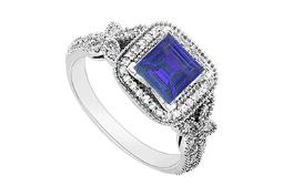 Created Sapphire and Cubic Zirconia Halo Engagement Rings in 14K White Gold 0.60.ct.tgw