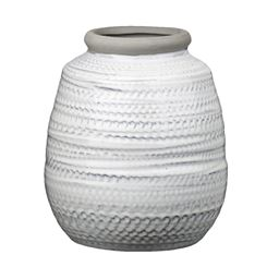 Urban Trends Ceramic Round Bellied Pot with Matte Gray Lip and Etched Glazed Design Body in Gloss Finish, Large - Ivory