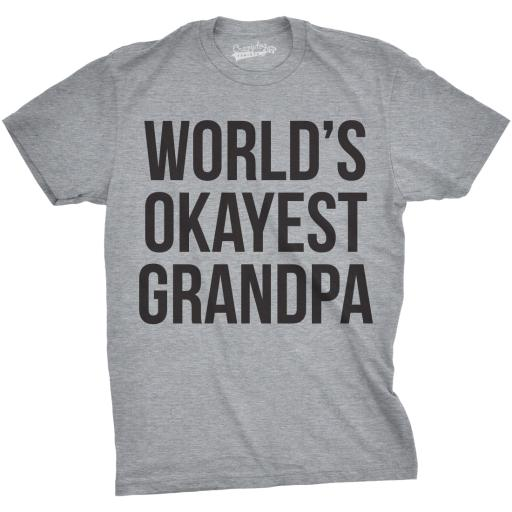 Mens World's Okayest Grandpa T Shirt Cool Grandparent Family Relationship Tee