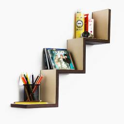 Utility Brown Ladder-Shaped Leather Shelf / Bookshelf / Floating Shelf