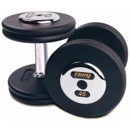 Troy Barbell PFD-035C Black Troy Pro-Style Cast dumbbells - Chrome endplates - 35 lbs. - Sold as Pairs