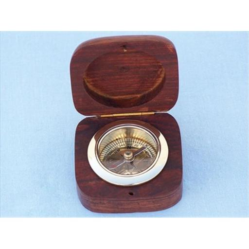 Brass Desk Compass With Rosewood Box 3 in. Compasses Decorative Accent