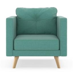 NyeKoncept 50200365 Kennedy Armchair Linen Weave - Blue Lagoon with Natural Finish
