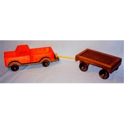 The Puzzle-man Toys W-2083 Wooden Play Farm Series - Accessories Special - Pick Up Truck + Wagon