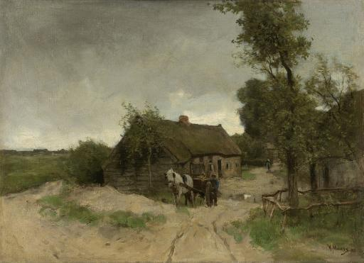 House On The Dirt Road, By Anton Mauve, 1870-88, Dutch Painting, Oil On Canvas. House With An Attached Barn And A Man Walking Behind A Horse Drawn.