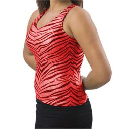 Pizzazz Performance Wear 9400ZGREDBLKAM 9400ZG Adult Zebra Glitter Racer Back Top - Red with Black - Adult Medium