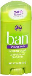 Ban Shower Fresh, Invisible Solid Deodorant - 2.6 Oz