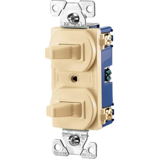 Cooper Wiring 275v-box 3-way Combination Single-pole Toggle Switch, Steel, Zinc Plated, Ivory, 15 Amp