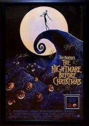 The Nightmare Before Christmas - Cast Signed Movie Poster Framed + COA