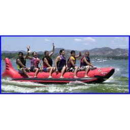 Aqua Sports Rspvc-6 6 Passenger Red Shark 18 Feet In-line Seats Commercial Red Shark Banana Style Water Sled