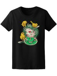 Tea Party Birds And Cups  Tee Women's -Image by Shutterstock