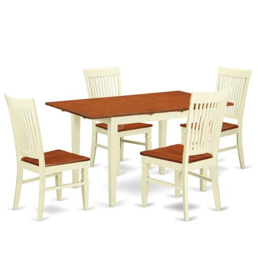 East West Furniture NOWE5-BMK-W Kitchen Table Set with a Dining Table & 4 Chairs, 5 piece - Buttermilk & Cherry