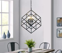 BELLEZE Black Cage Cube Geometric Pendant 4 Light with Metal Shade Modern Industrial Candle Style Hanging Ceiling Light