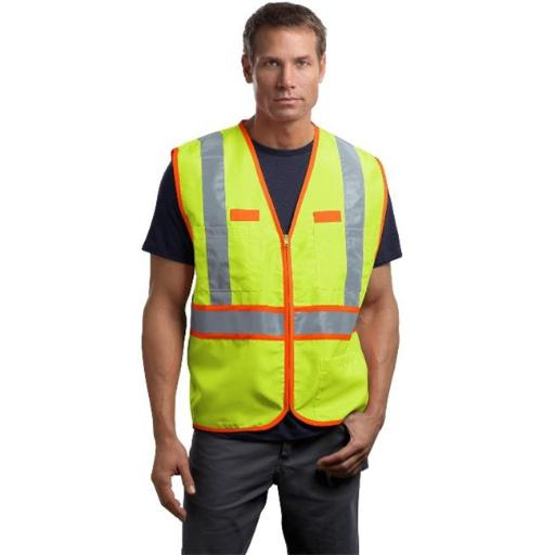 CSV407 Mens ANSI 107 Class 2 Dual-Color Safety Vest, Safety Yellow & Safety Orange - Medium