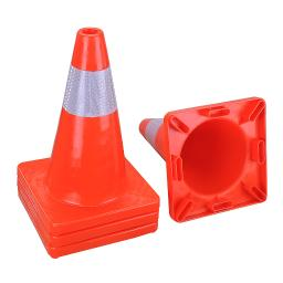 """Yescom 18"""" Height Red PVC Safety Plastic Traffic Cones w/ Reflective Strips Collar Set of 4pcs"""