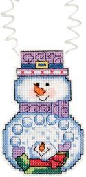"Holiday Wizzers Snowman With Snowballs Counted Cross Stitch -3""X2.25"" 14 Count 21-1193"