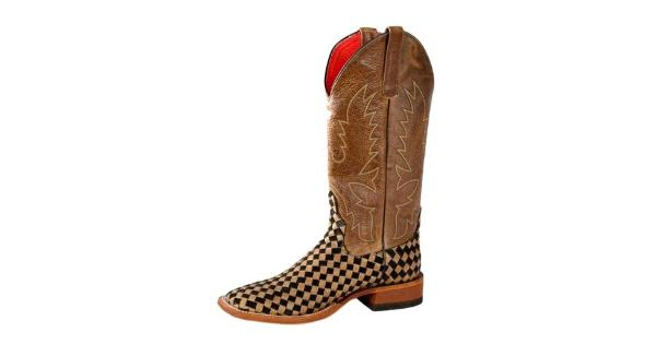 1894f12a01336 Macie Bean Western Boots Womens Courtly Check Weave Tan Black M9072 -  MassGenie