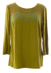 BODEN Women's Fancy Embroidered Top US Sz 8 Olive