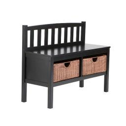 Holly and Martin Brazos Satin Black Bench with 2 Brown Rattan Baskets