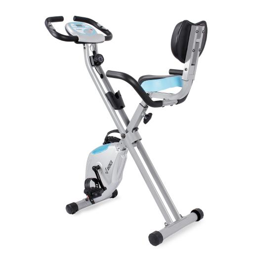 AKONZA Indoor Cycle Trainer Exercise Upright Workout Bike with LCD Monitor and Pulse Sensors