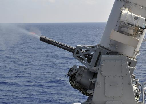 A close-in weapons system aboard the amphibious transport dock ship USS Denver Poster Print