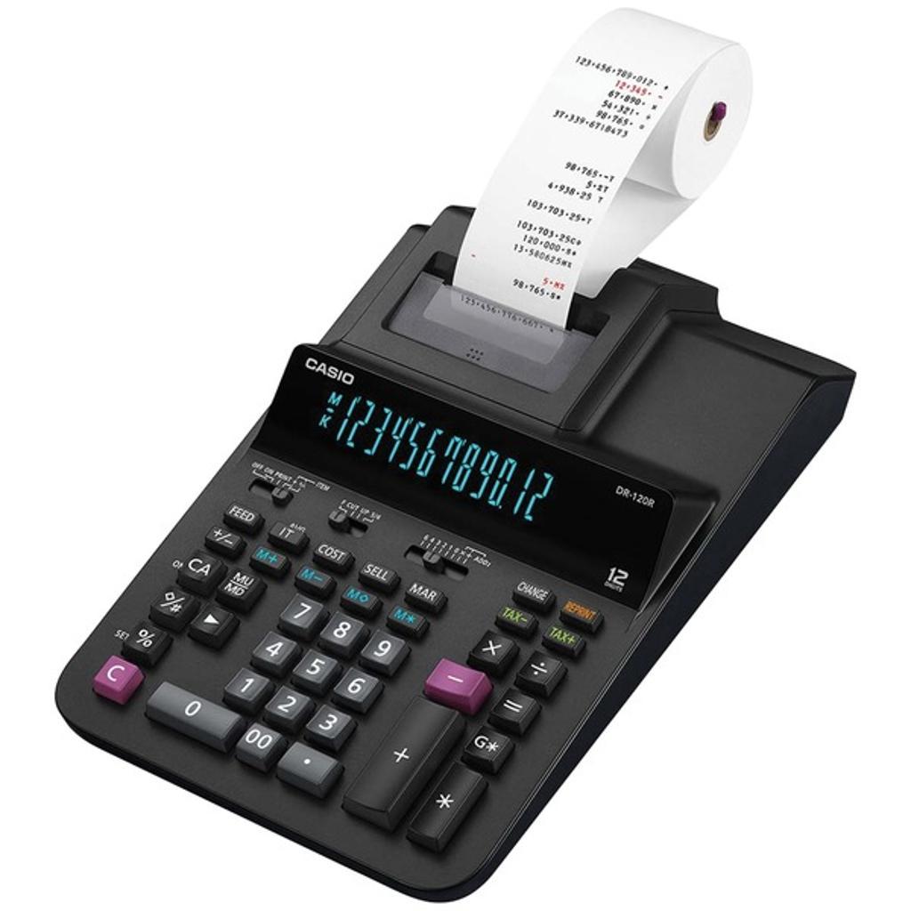 Casio Dr120r-Bk 12-Digit Large Desktop Printing Calculator