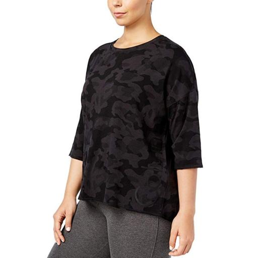 Calvin Klein Performance Women's Plus Camouflage Casual Top Black Size 3 Extra Large