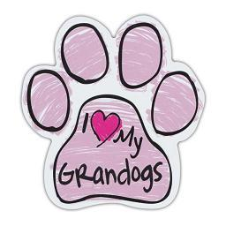 """Pink I Love My Grandogs Scribble Paw Magnet Dog Cat 5.5"""" x 5.5"""" Shaped Pet Puppy"""