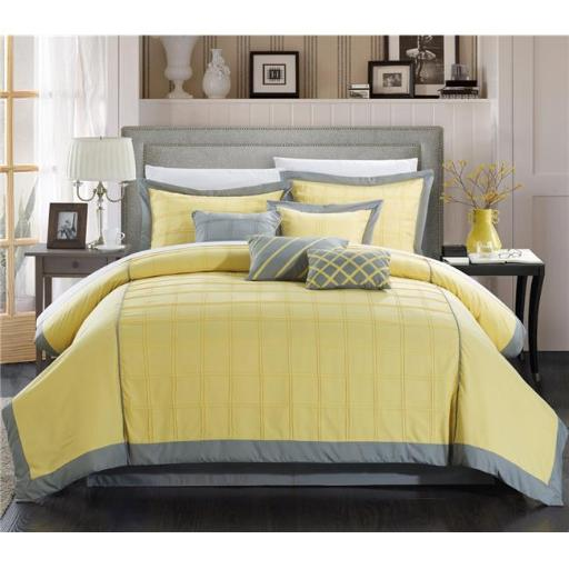 Chic Home 111CK111-BIB-US 12 Piece Cottage Pintuck Color Block King Comforter Set, Yellow with Sheet Set