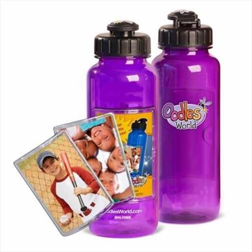 Oodles World 133593 Water Bottle 22 Oz With Fotoframe Purple