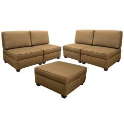 Duobed MFSEC-BS 36 in. Sectional Piece of 9 Plus 4, Ottoman - Mocha