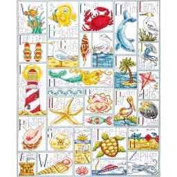 """Ocean ABC Counted Cross Stitch Kit-16""""X20"""" 14 Count DW2530"""