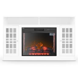 DELLA Electric Fireplace Entertainment Center with Bookcase and Glass Doors, 59-Inch