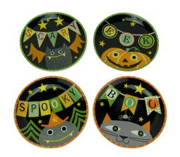 Set of 4 Whimsical Halloween Ceramic Plates 11 Inch